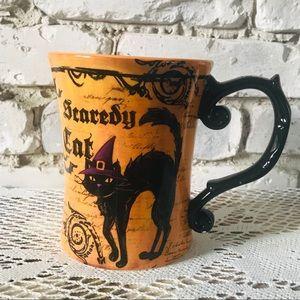 HALLOWEEN MUG ORANGE & BLACK SCAREDY CAT 18 ONZAS